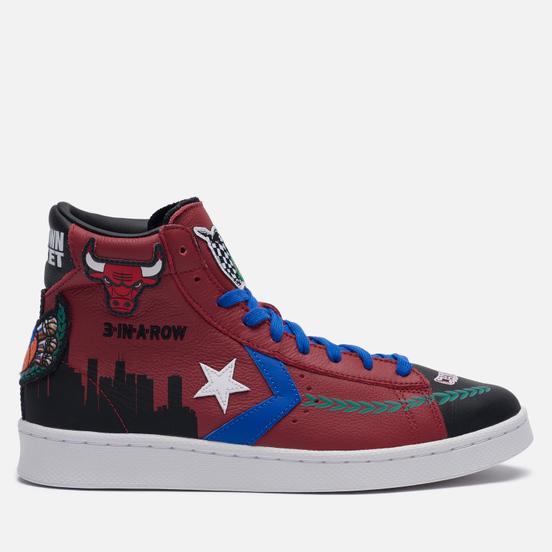 Мужские кеды Converse x Chinatown Market x NBA Pro Leather High Garnet/Black/Hyper Royal