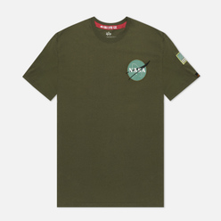 Мужская футболка Alpha Industries Nasa Space Shuttle Dark Green