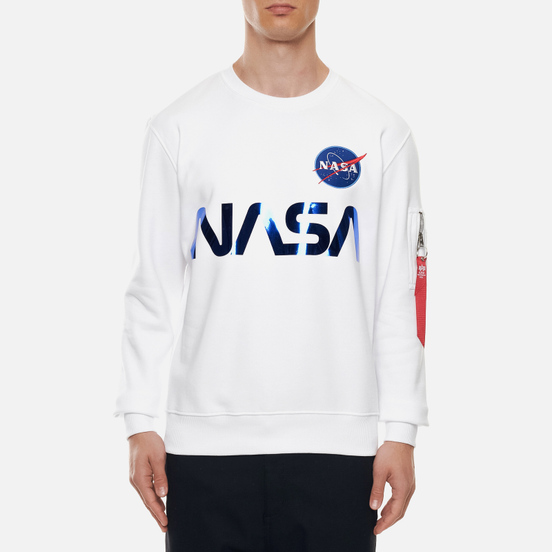 Мужская толстовка Alpha Industries NASA Reflective White/Blue