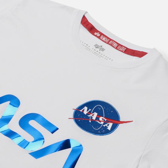 Мужская футболка Alpha Industries NASA Reflective White/Blue