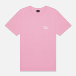 Мужская футболка Stussy Basic Pink/White