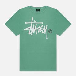 Мужская футболка Stussy Basic Logo Pigment Dyed Moss