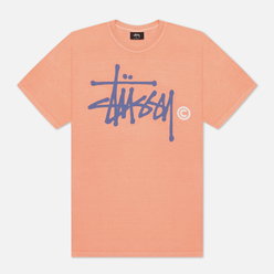 Мужская футболка Stussy Basic Logo Pigment Dyed Neon Orange