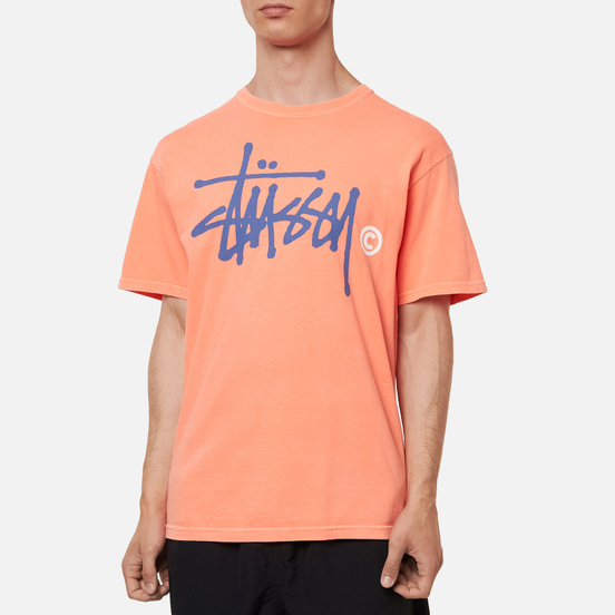Мужская футболка Stussy Basic Logo Pigment Dyed Neon Orange
