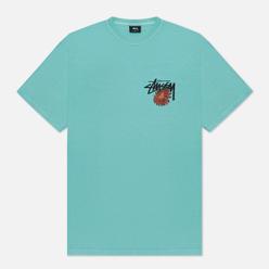 Мужская футболка Stussy Smokin Skull Pigment Dyed Aqua