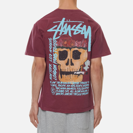 Мужская футболка Stussy Smokin Skull Pigment Dyed Wine