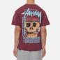 Мужская футболка Stussy Smokin Skull Pigment Dyed Wine фото - 4