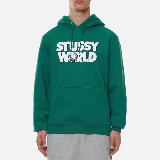 Мужская толстовка Stussy Stussy World Hoodie Dark Green
