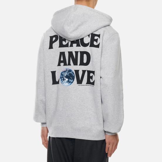 Мужская толстовка Stussy Peace And Love Hoodie Ash Heather