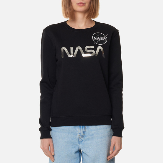 Женская толстовка Alpha Industries NASA Mirror Print Black/Chrome