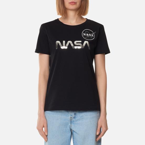 Женская футболка Alpha Industries NASA Mirror Print Black/Chrome