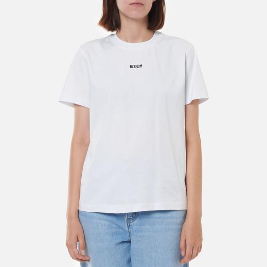 Женская футболка MSGM Micrologo Basic Crew Neck Optical White/Black