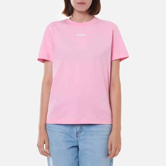 Женская футболка MSGM Micrologo Basic Crew Neck Pink/White