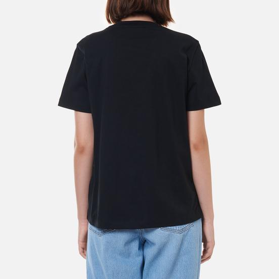 Женская футболка MSGM Micrologo Basic Crew Neck Black/White