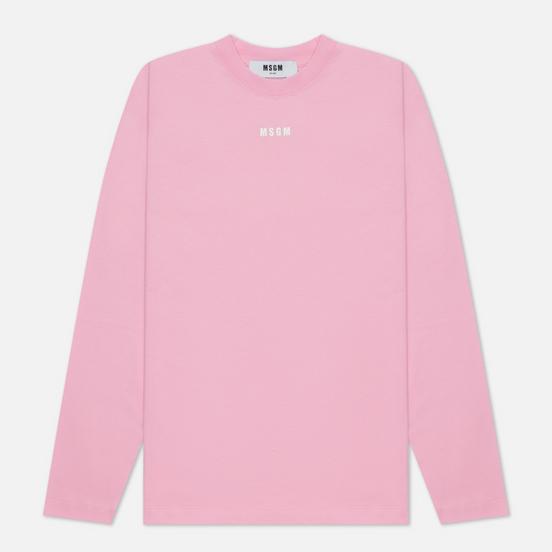 Женский лонгслив MSGM Micrologo Basic Crew Neck Pink/White