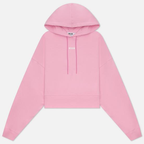 Женская толстовка MSGM Micrologo Basic Unbrushed Hoodie Pink/White