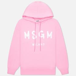 Женская толстовка MSGM Paint Logo Unbrushed Hoodie Pink/White