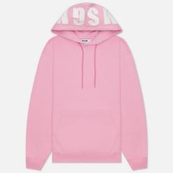 Женская толстовка MSGM Maxilogo Basic Unbrushed Hoodie Pink/White