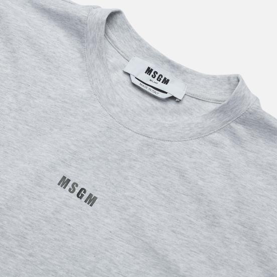 Мужская футболка MSGM Micrologo Basic Crew Neck Lght Grey Melange/Black
