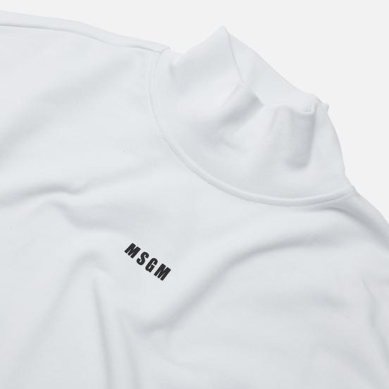 Мужская толстовка MSGM Micrologo Basic Unbrushed High Collar Optical White/Black