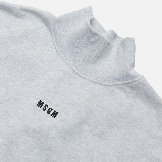 Мужская толстовка MSGM Micrologo Basic Unbrushed High Collar Lght Grey Melange/Black