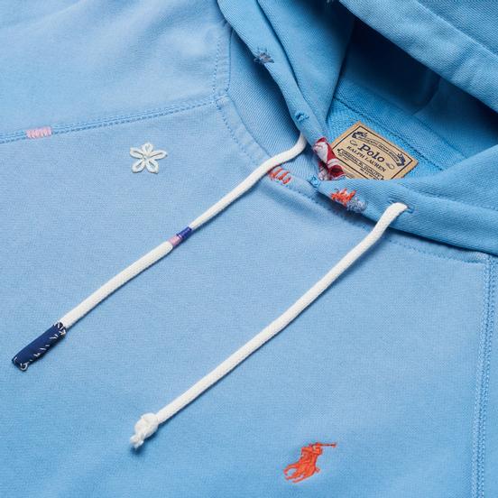 Женская толстовка Polo Ralph Lauren Patchwork Loopback Fleece Hoodie Carolina Blue