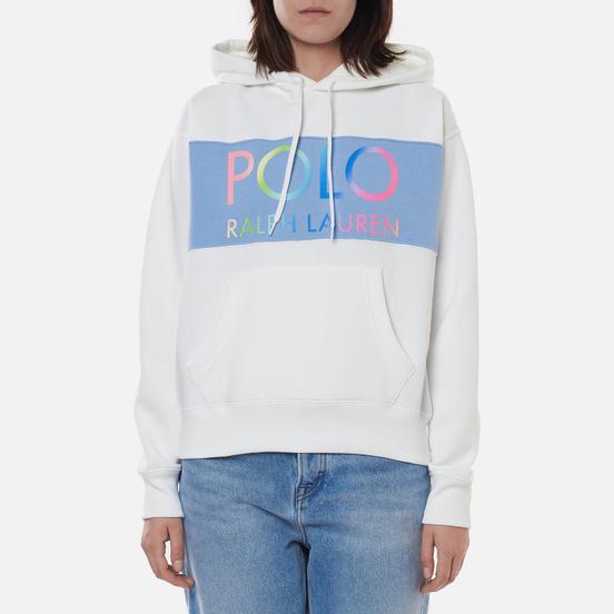 Женская толстовка Polo Ralph Lauren Ombre Logo Fleece Panel Hoodie White