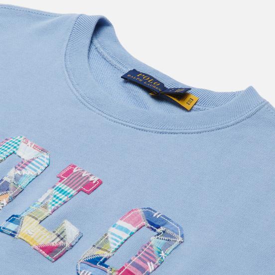 Женская толстовка Polo Ralph Lauren Patchwork Logo Loopback Fleece Chambray Blue
