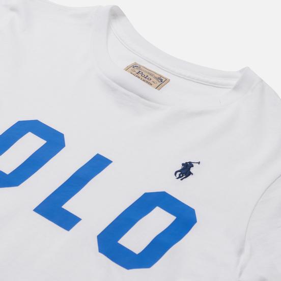 Женская футболка Polo Ralph Lauren Big Logo Stripe Sleeve White