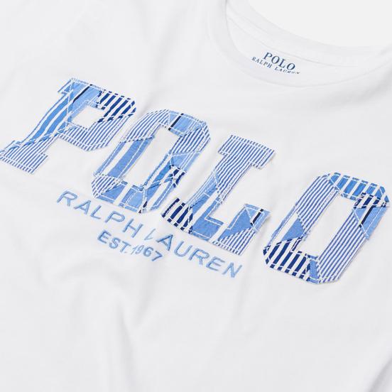 Женская футболка Polo Ralph Lauren Patchwork Printed Logo White