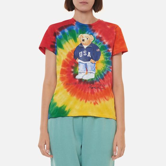 Женская футболка Polo Ralph Lauren Polo Bear Tie-Dye Rasta Blue