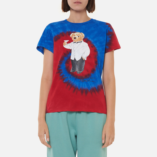 Женская футболка Polo Ralph Lauren Polo Bear Tie-Dye Spiral Royal And Red