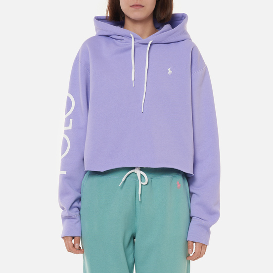Женская толстовка Polo Ralph Lauren Logo Fleece Cropped Hoodie Cruise Lavendar