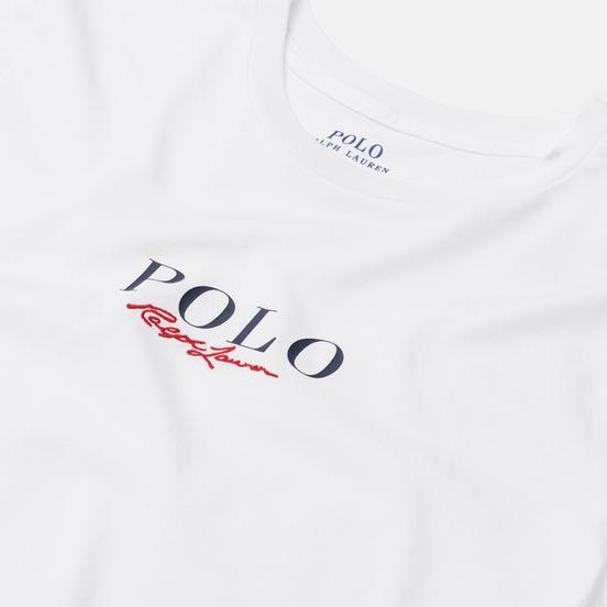 Женская футболка Polo Ralph Lauren Authentic Signature Crew Neck White