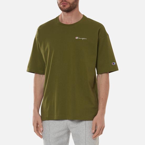 Мужская футболка Champion Reverse Weave Small Script Logo Muscle Fit Military Green