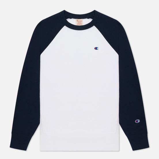 Мужская толстовка Champion Reverse Weave Colour Block Logo Chest And Sleeve White