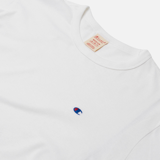 Мужской лонгслив Champion Reverse Weave Small Logo Chest And Sleeve Crew Neck White
