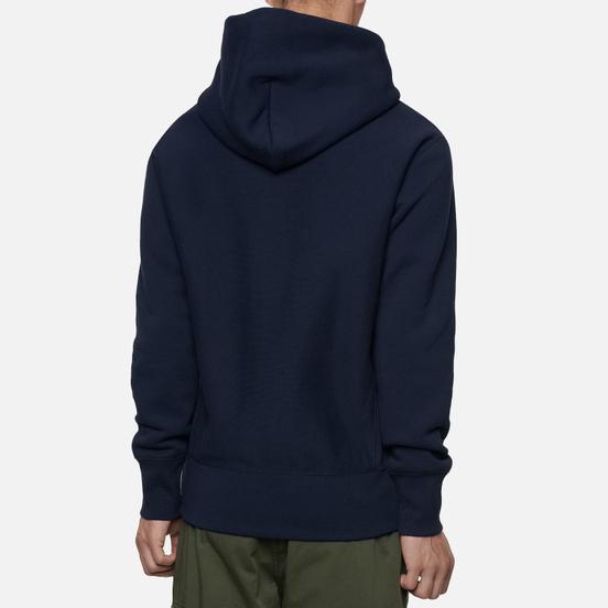 Мужская толстовка Champion Reverse Weave Big Script Chest & Logo Sleeve Hooded Navy