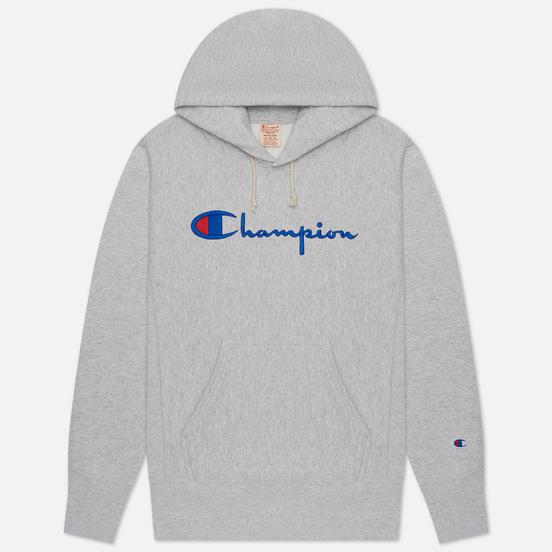 Мужская толстовка Champion Reverse Weave Big Script Chest & Logo Sleeve Hooded Light Grey