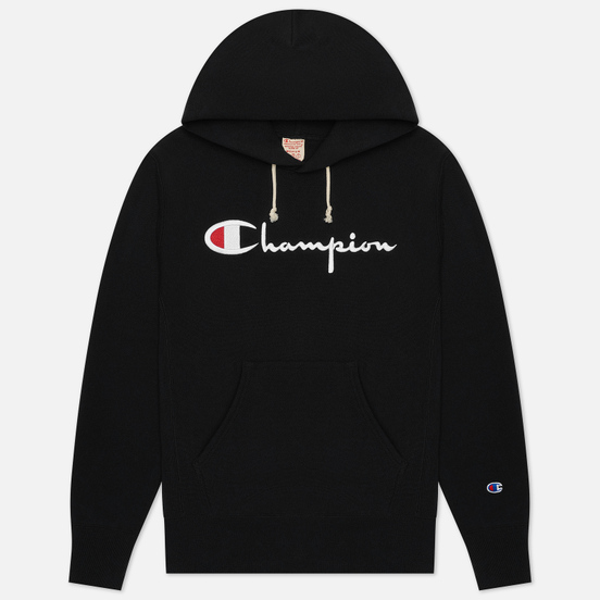 Мужская толстовка Champion Reverse Weave Big Script Chest & Logo Sleeve Hooded Black