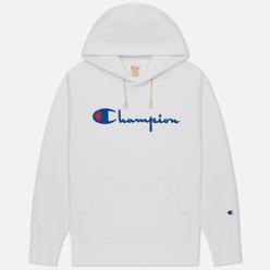 Мужская толстовка Champion Reverse Weave Big Script Chest & Logo Sleeve Hooded White