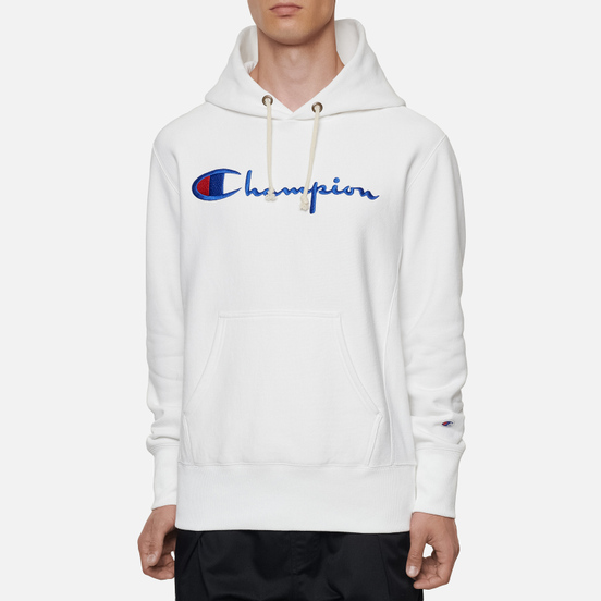 Мужская толстовка Champion Reverse Weave Big Script Chest & Logo Sleeve Hooded White