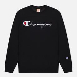 Мужская толстовка Champion Reverse Weave Script Logo Chest And C Logo Sleeve Black