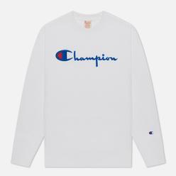 Мужская толстовка Champion Reverse Weave Script Logo Chest And C Logo Sleeve White