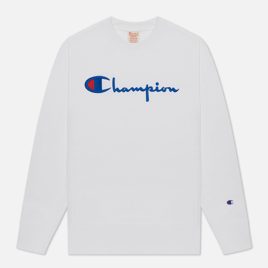 Мужская толстовка Champion Reverse Weave Script Logo Chest And C Logo Sleeve White