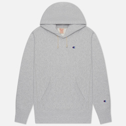 Мужская толстовка Champion Reverse Weave Small Logo Chest And Sleeve Hooded Light Grey