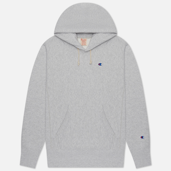 Мужская толстовка Champion Reverse Weave Small Logo Chest And Sleeve Hooded Light Grey