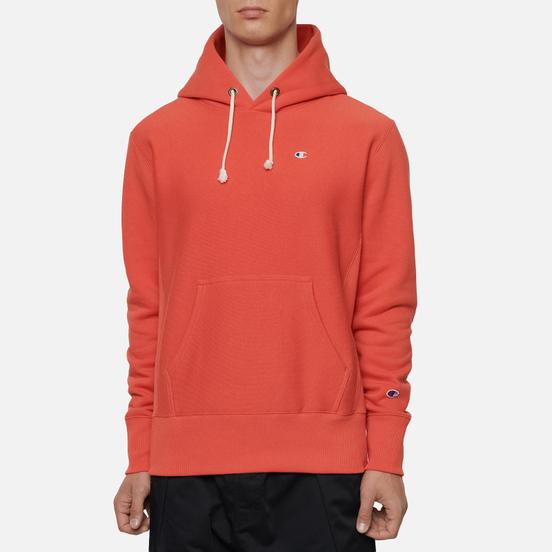 Мужская толстовка Champion Reverse Weave Small Logo Chest And Sleeve Hooded Chili