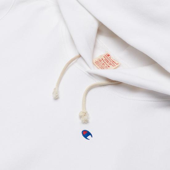 Мужская толстовка Champion Reverse Weave Small Logo Chest And Sleeve Hooded White