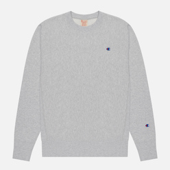 Мужская толстовка Champion Reverse Weave Small Logo Chest And Sleeve Crew Neck Light Grey